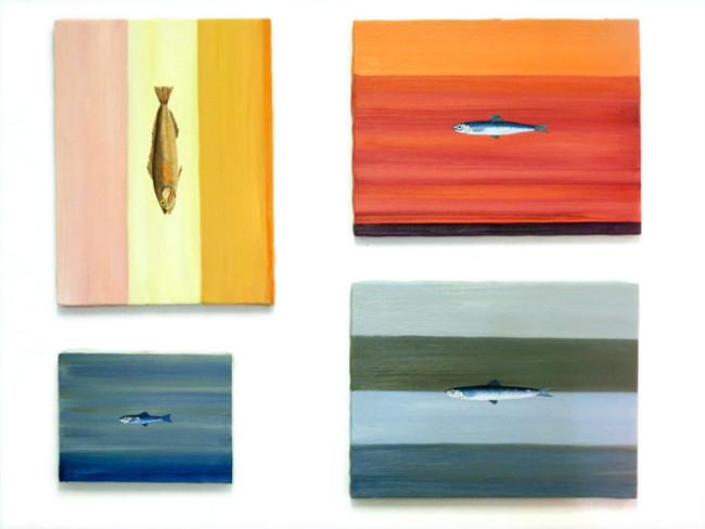 Aimone Sambuy four fish paintings