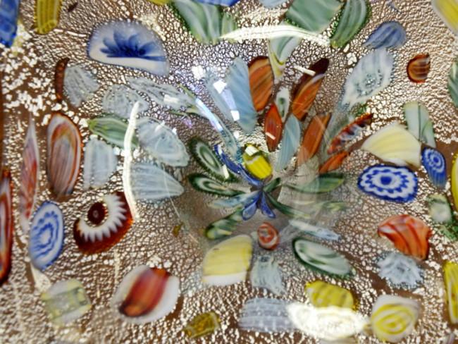 Closeup of millefiori glass bowl