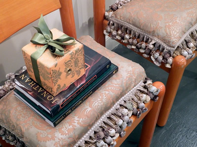 Chairs, gift and books
